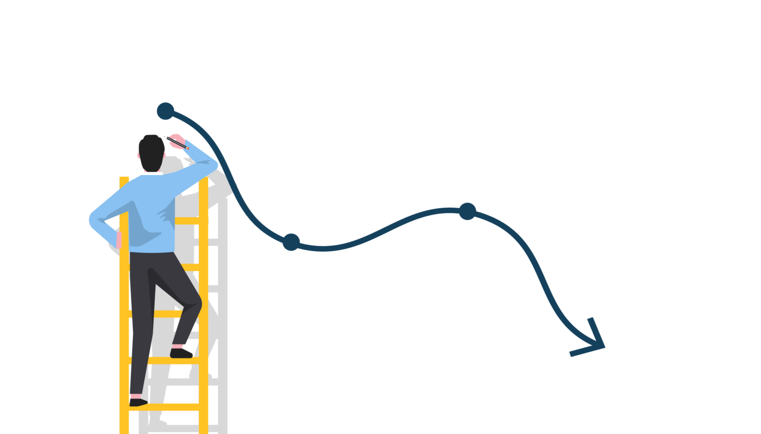 personnage sur une échelle traçant une courbe baissière